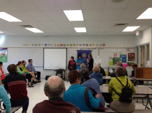 Students presenting to Canmore Rotary Club members